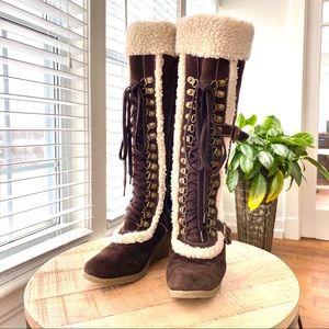 Colin Stuart knee high suede boots